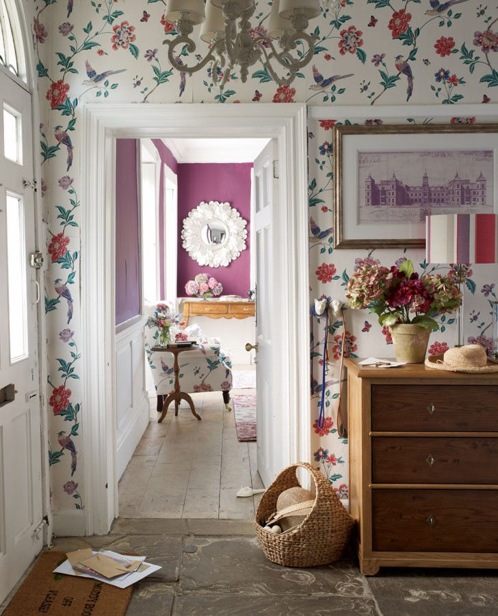 Bold Floral Print Wallpaper | Elveden Cranberry Wallpaper Part 96