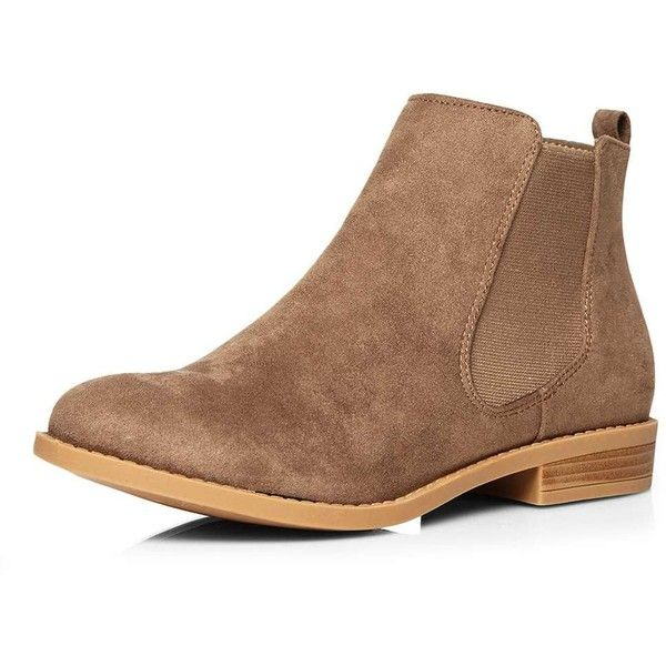 Dorothy Perkins Brown 'Bea' Chelsea Boots ($44) ❤ liked on Polyvore featuring shoes, boots, ankle booties, brown, brown flats, flat heel boots, dorothy perkins, chelsea ankle boots and flat pumps