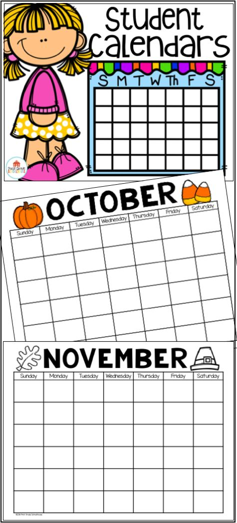 Student calendars for every month of the year in color and black and white with calendar questions.