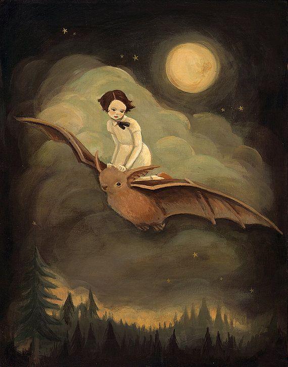 Ein Mädchen und ihr treuer Fledermaus und der Goldene Mond, Tannenwäldern mit die leiseste Rosa kriechend im Morgengrauen überfliegen. Nur die schönen Traum (oder, was zu tun, während alle anderen träumen ist.)    Dieser randlosen Druck misst 8 x 10, und kommt bereit um zu pop in jede Norm 8 x 10 Frame oder Matt.    Besonderheiten:  Der Druck wird von einem Gemälde von mir, Emily Martin reproduziert. Es ist auf ein schönes mattes Epson Papier gedruckt. Ich experimentierte mit vielen…