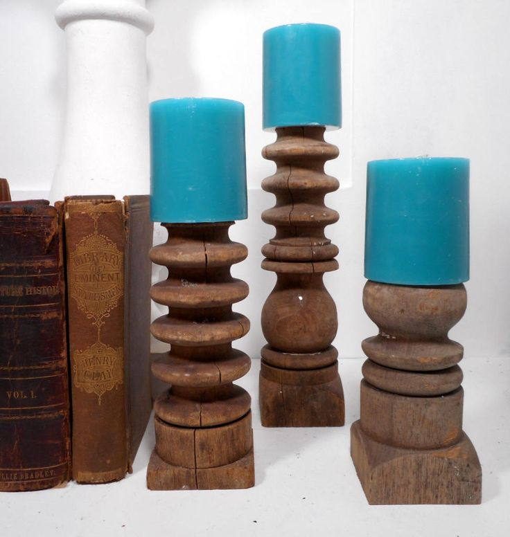 Architectural Salvage Candle Holders, Set of 3, Shabby Candle Pillars, Reclaimed Spindles, Antique Architecture, Rustic Candleholders by LifeProject on Etsy
