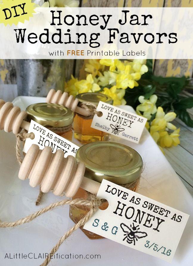 Honey Jar Wedding Favors - with free printable labels