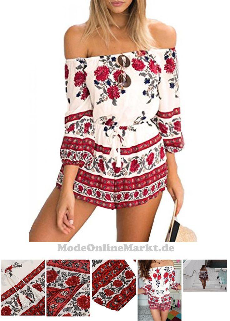 #CRAVOG #Sexy #Damen #Overall #Sommer #Blumendrucken #Schulterfreies #Jumpsuit #Rot #S #7733858