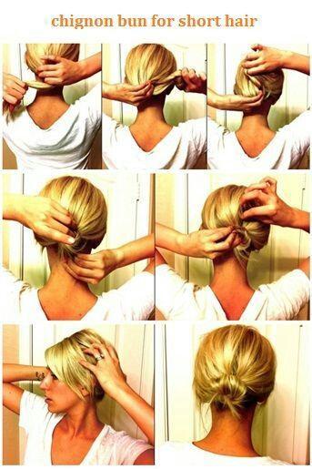 chignon bun for short hair tutorial hair pinterest