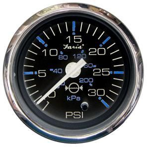 Faria Chesapeake Black SS2 Water Pressure Gauge Kit - 30 PSI