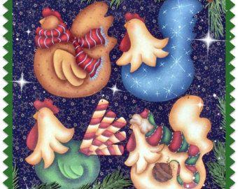CC117 Navidad más Funky pollos pintura patrón paquete por correo