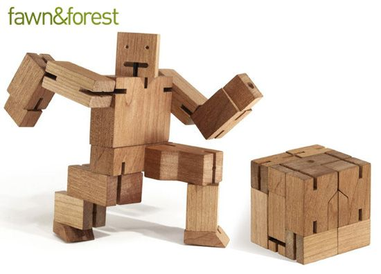 David Weeks Wooden Robot Action Figure Puzzle Toy