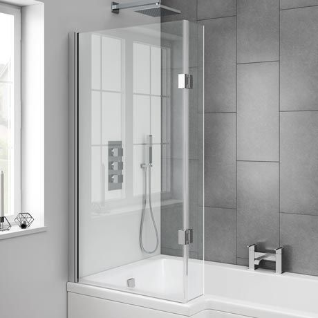 Milan Hinged L-Shaped Bath Screen