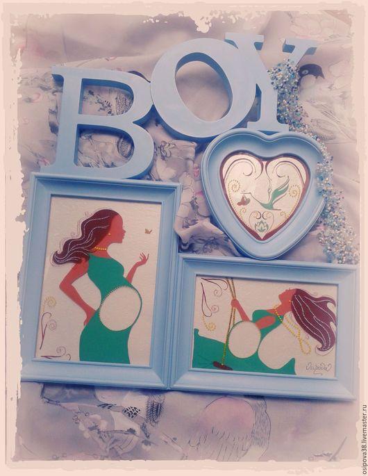 Подарки для новорожденных, ручной работы. Ярмарка Мастеров - ручная работа. Купить Рамка для УЗИ. Handmade. Голубой, бирюзовый, светло-розовый
