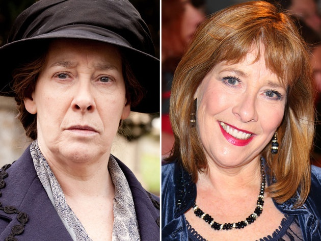 WOW! This might be the most shocking transformation of the whole lot: Phyllis Logan is anything but glamorous as housekeeper Mrs. Hughes, but she looks positively luminous out of costume.