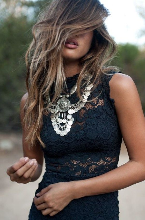 Black Plain Lace Hollow-out Band Collar Sleeveless Dress