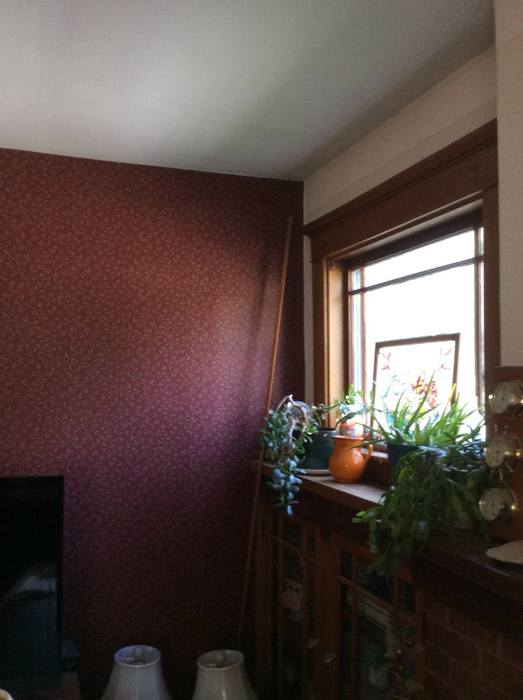 Getting There Have Burgundy Wallpaper Up On Accent Wall In Living Room Wallpapers