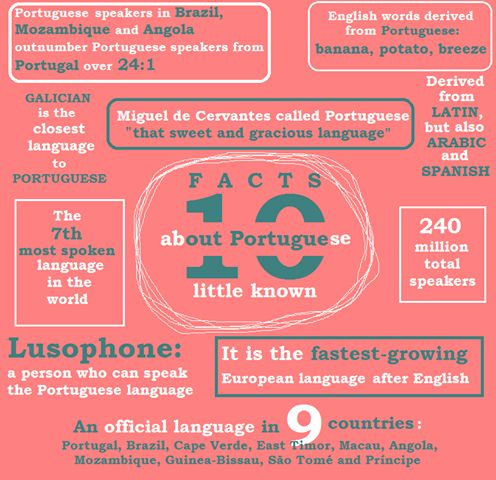 Learn Portuguese: 10 Facts About Portuguese Language.  Study and make flashcards.
