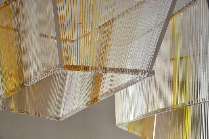 Pracownia Ładnie // hangining geometrical cubes - wood and strings, knitting wool // 2015