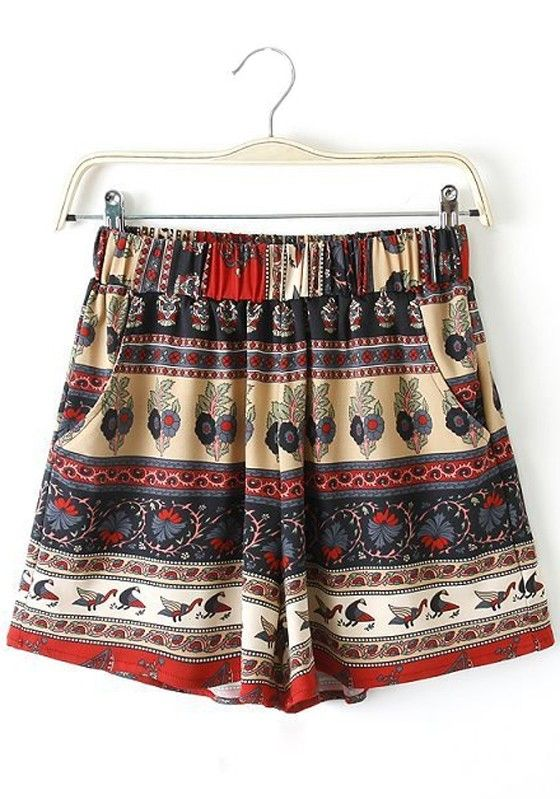 Multicolor Print High Waist Loose Shorts