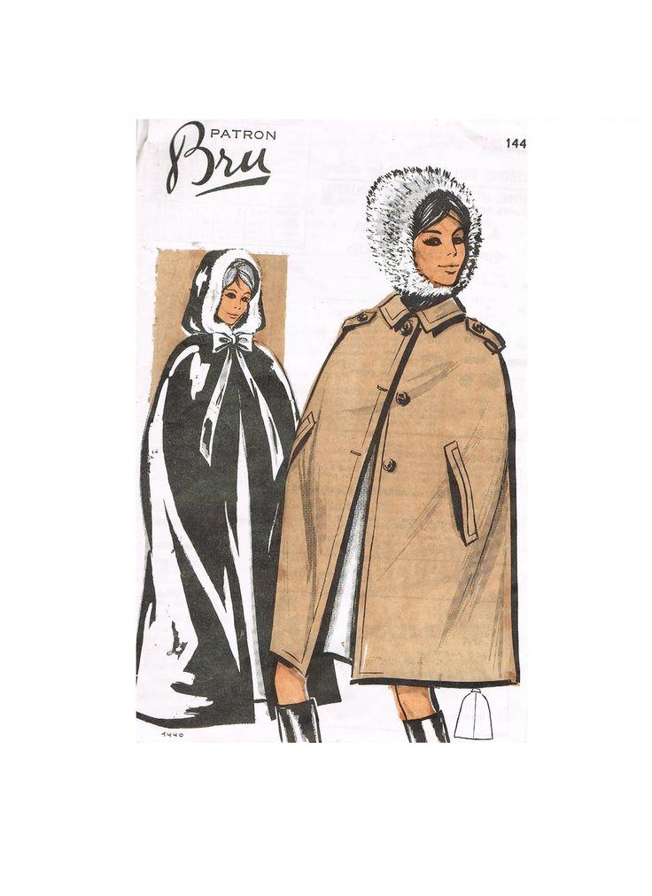 patron vintage manteau cape femme avec capuche ou col réversible ou doublé : du 38 au 46 . : Patrons par serroise