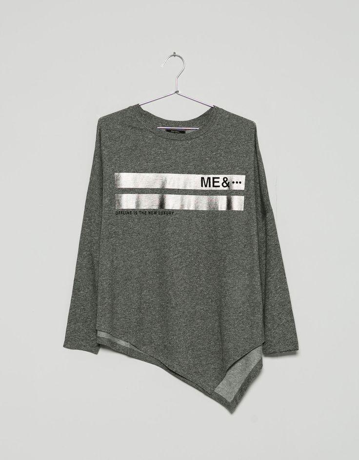 shimmer print asymmetric jumper - Sweatshirts - Bershka United Kingdom