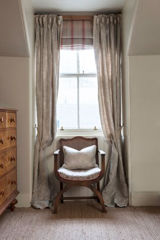 Beautiful rustic luxury linen curtains in Inchyra Aged Linen Squirl in Mouse with blinds in our pure woven linen Ticking in Cardinal.   Inchyra |  beautiful linens and homewares