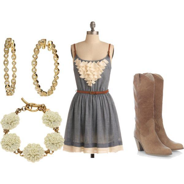 sun dress and boots! But I don't like the earrings or bracelet...