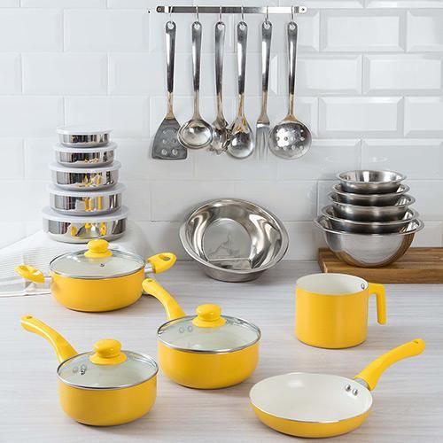 Conjunto Panela de Revestimento Cerâmico Colors 5 Peças Amarela + Potes 5 Peças + Tigelas 5 Peças + Conjunto Utensílios Inox 7 Peças + Escorredor de Arroz - La Cuisine