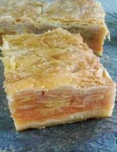 - Autumnal fruit slice -  Layers of sliced apple, pear and quince sweetened with a honey cinnamon custard, sandwiched between flaky pastry.