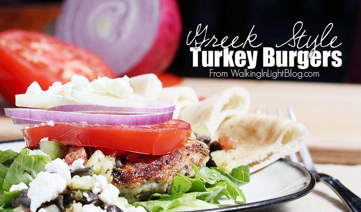 Greek Turkey Burgers from Walking in Light Blog