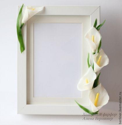 Каллы - белый,каллы,Холодный фарфор,рамочка,рамочка для фото,для интерьера