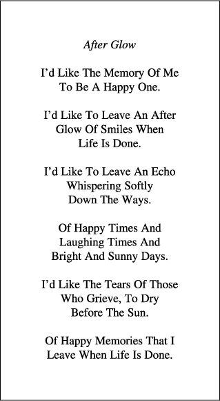 A good remembrance card poem.