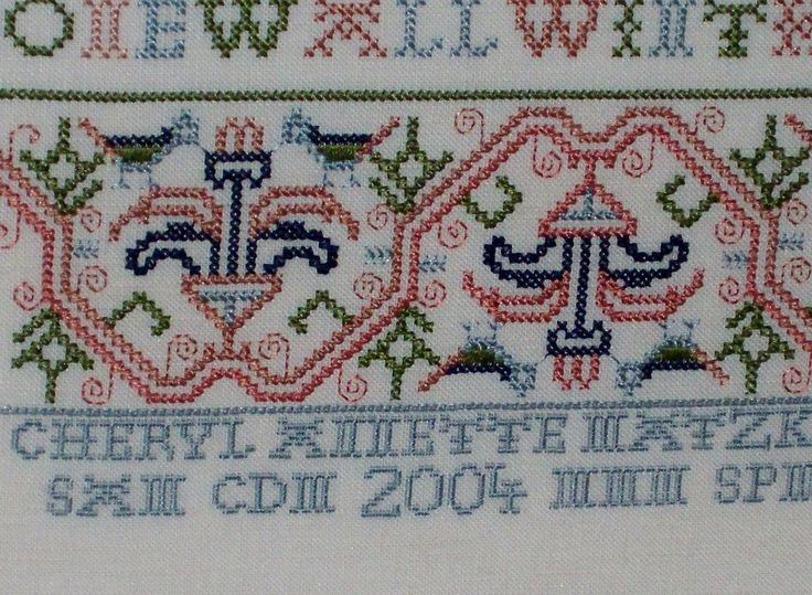 Since doing my first sampler in 1999, I have always included the initials of all four of my children in any samplers I do with the exception of designs that do not have an area to do this without  altering the design in any way. The true stitchers name is always on my work as it appeared when it was created. I think it is important when doing a reproduction, to stay true to the original, but when possible, your name deserves to go on the piece as well.