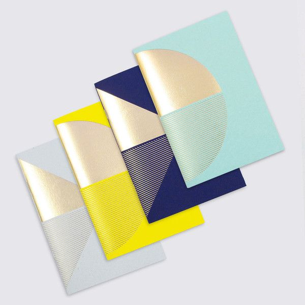 Metalic brass foil notebooks by Tom Pigeon, via we-are-scout.com.