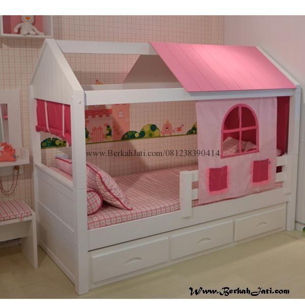 Jual Tempat Tidur Anak Minimalis Laci Desain Gubuk Merupakan Produk Mebel Furniture Tempat Tidur Anak Minimalis Laci dengan Bahan Kayu Mahoni Cat Duco Putih