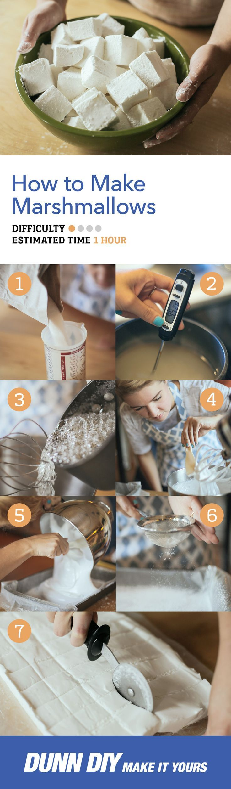 DIY: Homemade marshmallows! These are a lot of fun to make, and the perfect addition to any backyard bonfire.