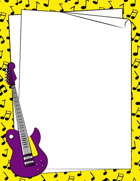 A guitar page border. Free downloads at http://pageborders.org/download/guitar-border/