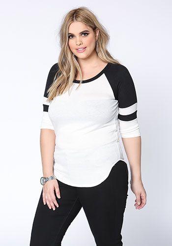 Plus Size Varsity Stripes Ribbed Tee - Debshops.com ♡
