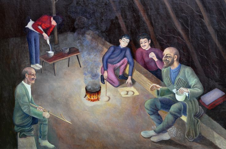 САБАНОВ ХАДЖУМАР ТАЗЕЕВИЧ самобытный художник РСО-Алания ЧАБАНЫ В ШАЛАШЕ горы Дигории