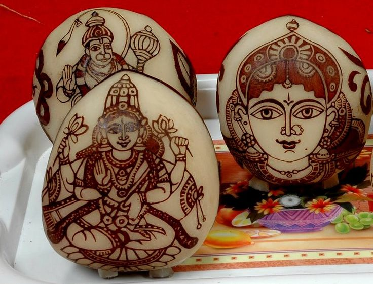 Carvings on dry coconut - Marriage decorations (Malini)