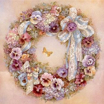 """Lena Liu """"Wreath of Pansies"""" is a signed print and canvas by floral watercolor…"""