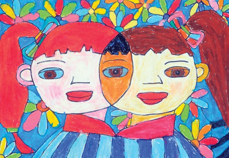 """""""We Are All Good Friends"""" by Shen H., 1st Grade, Siming District, Xiamen, China, 2009 Embracing Our Differences Exhibit, via embracingourdifferences.org"""
