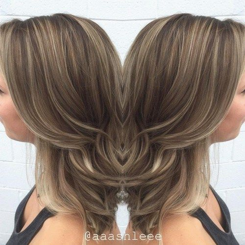 ash brown hair with thin highlights