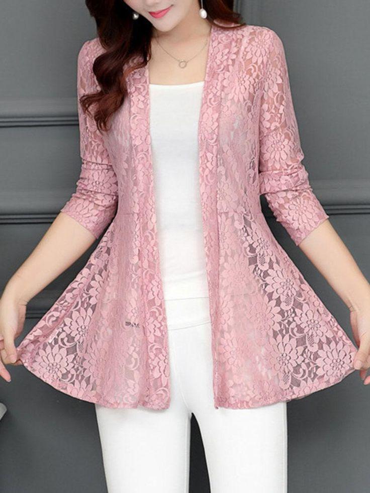 Berrylook Kragenlose, durchsichtige, einfarbige Strickjacke online bestellen! Holen Sie sich Outfit-Ideen und Stil Inspiration von Modedesignern bei AdoreWe.com