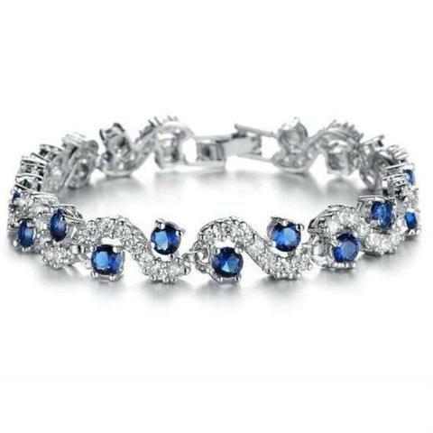 frozen sterling silver bracelet Cubic Zirconia stones - mewe-accessories.com - 1