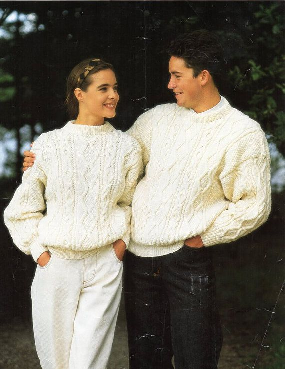 u8151 ladies aran sweater mens aran sweater knitting pattern pdf download womens aran jumper crew neck 30-46 aran worsted 10 ply All patterns are in English. Please refer to the pictures above for information from pattern on sizes, materials used, needle size etc. Click on the white arrow