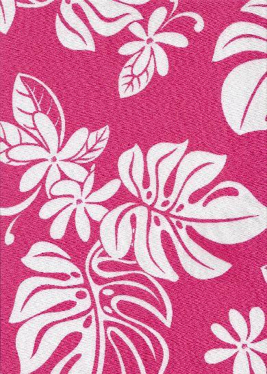 60uhina Tropical Hawaiian pink & white plumeria flowers on a broadcloth apparel.  More fabrics at: BarkclothHawaii.com