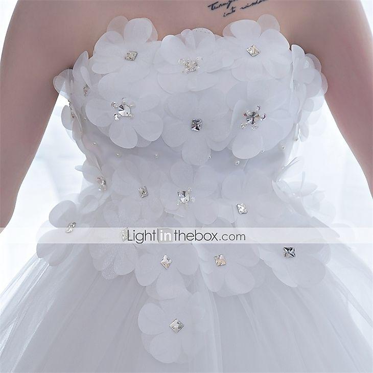 De Baile Vestido de Noiva Cauda Catedral Tomara que Caia Cetim / Tule com Flor de 5004524 2016 por R$337,97