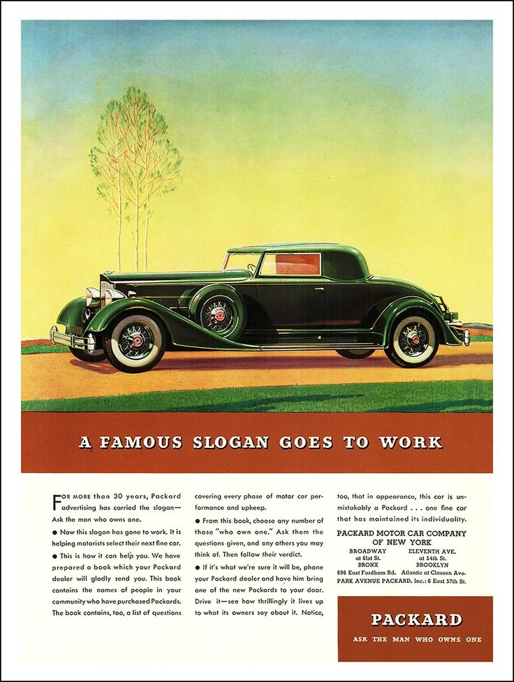 "1934 Packard Twelve Ad ""A Famous Slogan Goes to Work"""
