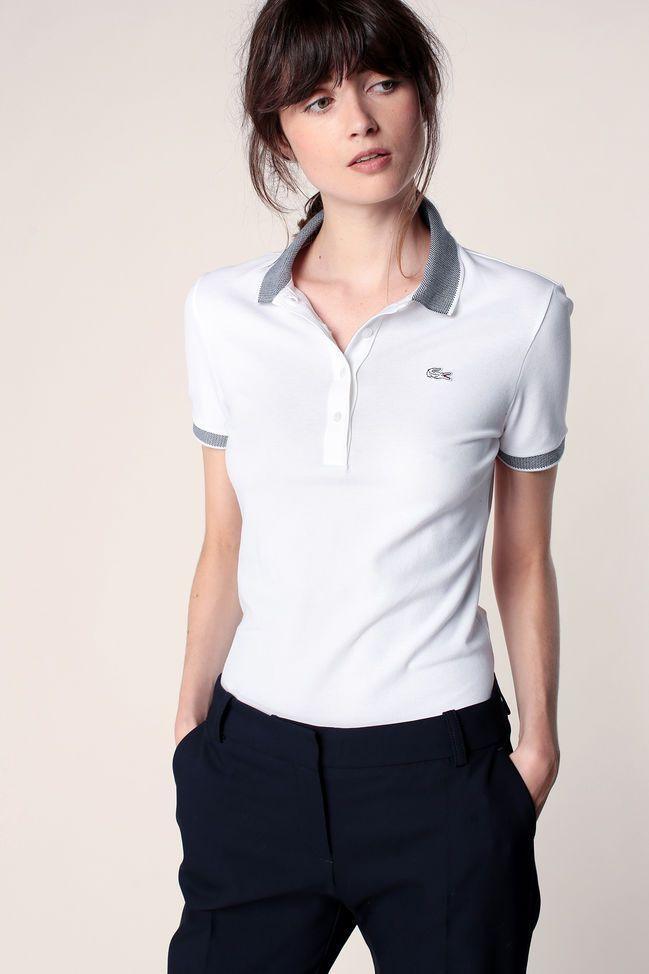 Polo blanc détails piqués noir logo brodé Lacoste   Polo outfits ...