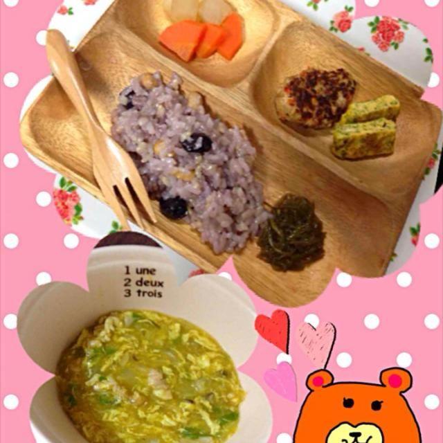 僕ちゃんのごはん♥︎  ⭐️豆腐ハンバーグ ⭐️青のりの卵焼き ⭐️大根と人参の煮物 ⭐️五穀米 ⭐️めかぶ ⭐️白菜のカレースープ - 1件のもぐもぐ - 離乳食 後期 by yosaku