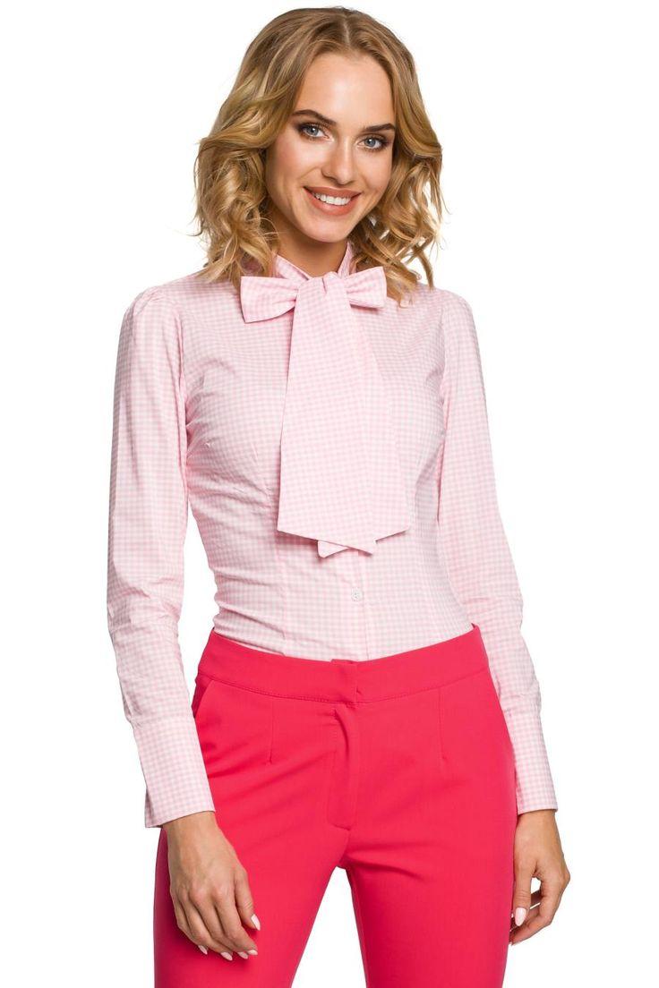 Koszula z Długim Rękawem w Krateczkę z Kokardą Różowa MO089