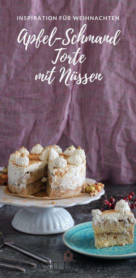 Apfel-Schmand-Torte mit Walnüssen - lecker und fruchtig. Mit einem Wiener Boden, Apfelfüllung und einer köstlichen Schmandcreme ist sie perfekt für herbst und winter. #wintertorte #weihnachtstorte #apfeltorte
