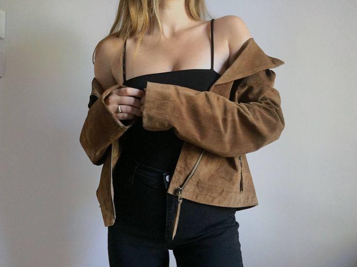 Vintage Caramel Suede Moto Jacket http://etsy.me/2jIMYdD #clothing #women #jacket #moto #motorcycle #suede #leather #coat